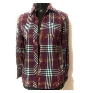 Lucky Brand Jeans plum Plaid button up shirt